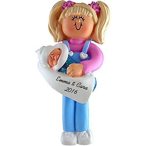 Big Sister Personalized Christmas Ornament - Blonde Hair - 4.5