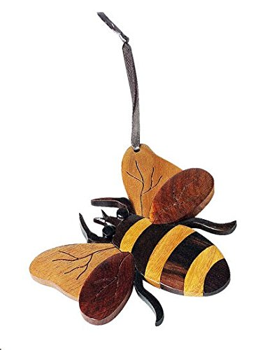 Handmade Double Side Intarsia Wood Bee Ornament - Gift Boxed, fun bee ornaments for christmas