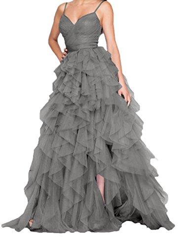 Damen Lilac Ballkleider Spaghetti Abiballkleider Traeger Grau Abschlussballkleider Abendkleider Partykleider Lang Charmant Tuell A5dRAq