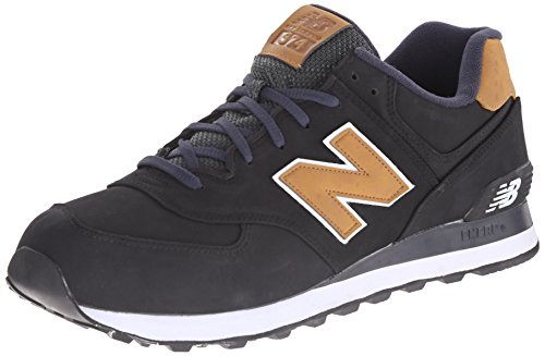 New Balance Men's ML574 Lux Pack Running Shoe, Black/Tan, 12 2E US