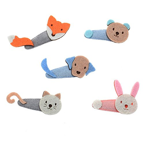 MAXGOODS 5 Pack Cute Animal Pattern Non-Slip Hair Clips,Cat Bear Fox Rabbit Baby Headwear Hairpin for Baby Girls Toddlers ()