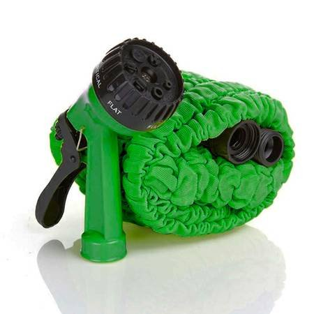 InSassy (TM) Expandable Garden Water Hose (Green, 75 Feet Hose w/Spray Nozzle)