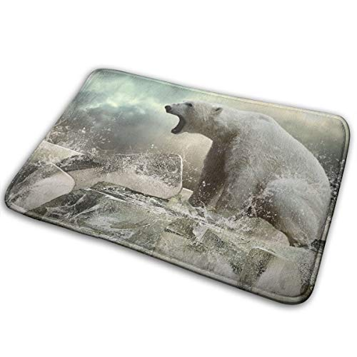 Contour Rug Square (YS25 Bathroom Rug Mat Contour Rug Toilet Floor Rug Flannel Bath Shower Mat Polar Bear On Ice Square Carpet)