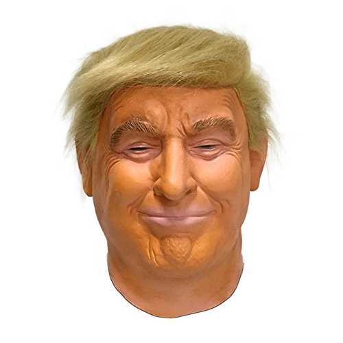 Realistic Celebrity Halloween Deluxe President Latex Full Head Donald Trump Mask with Hair (Orange) -
