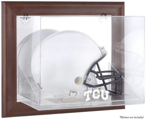 TCU Horned Frogs Brown Framed Wall-Mountable Helmet Display Case - Fanatics Authentic Certified - NCAA Football Helmet Logo Display Cases by Sports Memorabilia