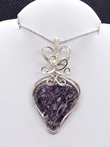 Purple Stone Necklace, Charoite Necklace, Teardrop Pendant In Sterling -