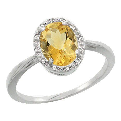 Sterling Silver Natural Citrine Diamond Halo Ring Oval 8X6mm, 1 2 inch wide, sizes 5-10