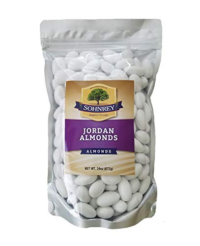 White Jordan Almonds Wedding Shower Party Favor Premium Fine Candied Nuts (1.5 lbs) Sohnrey Family Foods