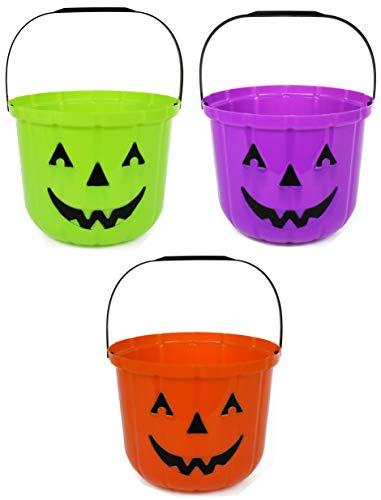 Set of 3 Pumpkin Halloween Treat Buckets! 7.48