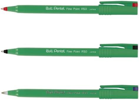 confezione da 12 Penna roller Ball Pentel verde tratto da 0,4 mm Pentel R50-D