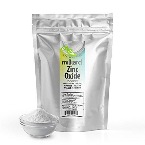 - Milliard Zinc Oxide Powder Non-nano, Uncoated Great For DIY Sunscreen and suntan Lotion USP Grade - 1 Pound Bulk