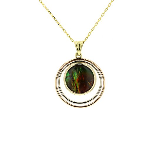 Ammolite Pendant, 18Kt White ,Yellow And Rose Gold Ammolite Pendant With 16