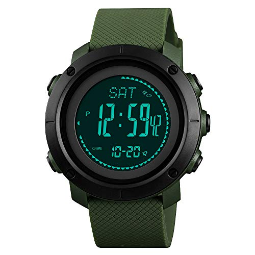 SKMEI Mens Compass Watch, Digital Sports Watch Pedometer Altimeter Barometer Temperature Military Waterproof Wristwatch for Men Women (Large Compass Digital)