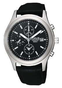 Lorus RF819CX9 - Reloj cronógrafo de caballero de cuarzo con correa de piel negra (cronómetro) - sumergible a 100 metros