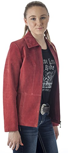Reed Women's Genuine Suede Leather Fashion Jacket (XL, Wine) (Suede Ladies Leather Genuine)