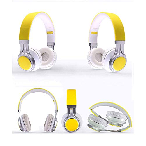 HSKK Gaming Headphones, Head-Mounted subwoofer Foldable Music Headphones, 3.5mm Single Interface, PC/Smartphone/Laptop-Yellow