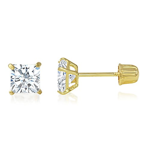 Ioka - 14K Yellow Gold Square Solitaire Princess Cut Cubic Zirconia CZ Stud Screw Back Earrings - 0.5ct ()