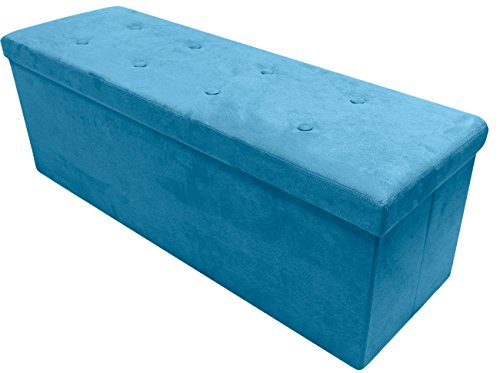 (Sorbus Storage Ottoman Bench – Collapsible/Folding Bench Chest with Cover – Perfect Toy and Shoe Chest, Hope Chest, Pouffe Ottoman, Seat, Foot Rest, – Contemporary Faux Suede (Large-Bench, Teal))