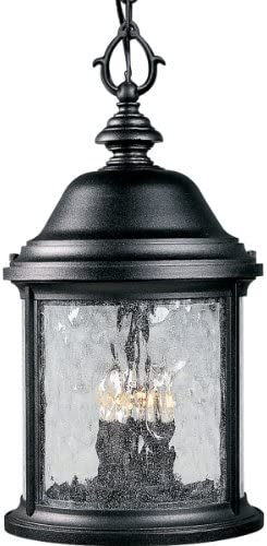 Progress Lighting P5550-31 Traditional Three Light Hanging Lantern from Ashmore Collection Finish, 9-5 8-Inch Diameter x 18-3 4-Inch Height, Textured Black
