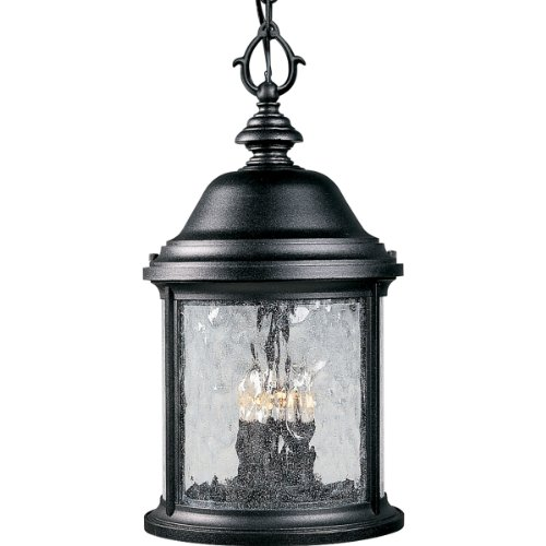 Progress Lighting P5550-31 3-Light Ashmore Hanging Lantern, Textured Black