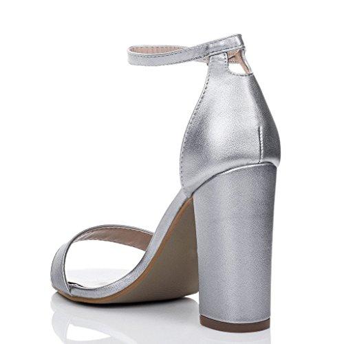 Bloque Tacón Sintético Sass Cuero Mujer Peeptoe Spylovebuy Sandalias Plata RI7CxRwq