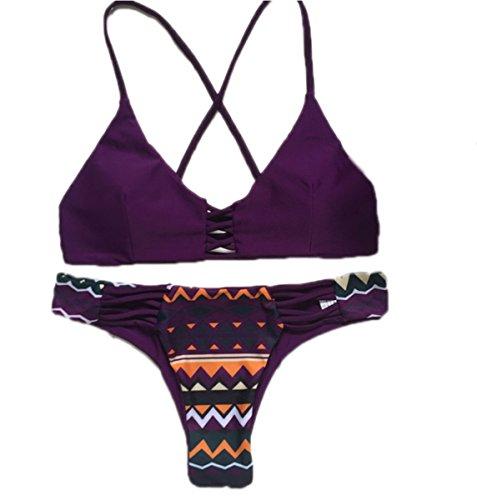 JIANLANPTT Purple Color Braided Criss Cross Strappy Brazilian Bikini for Women (US(2-4)=Asian S, New Style 9)