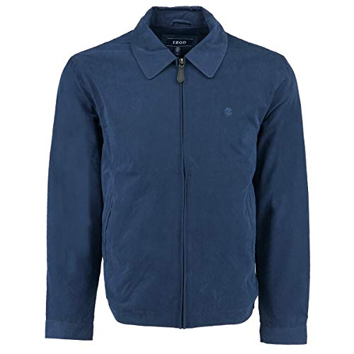 (IZOD Men's Microfiber Jacket, Navy, Medium)