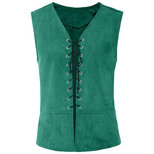 [해외]kemilove Vintage Medieval Men Vest Laced Up Renaissance Sleeveless Solid Waistcoat Gothic / kemilove Vintage Medieval Men Vest Laced Up Renaissance Sleeveless Solid Waistcoat Gothic Green
