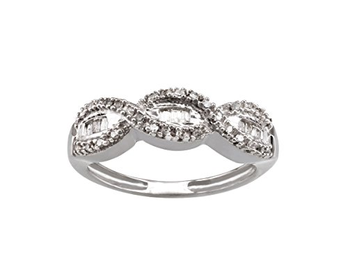 Cross Set Baguette - Valentines Gift Sterling Silver Twisted Crisscross Infinity .22cts Round Baguette Cut Diamond Ring (6)