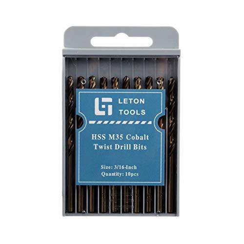 - LETON HSS M35 Cobalt Drill Bit Set, Pack of 10 (3/16