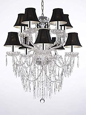 """Empress Crystal (tm) Icicle Waterfall Chandelier Lighting Dining Room Chandeliers w/Chrome Sleeves! H 30"""" W 24"""" with Black Shades! Swag Plug in-Chandelier W/ 14' Feet of Hanging Chain and Wire!"""