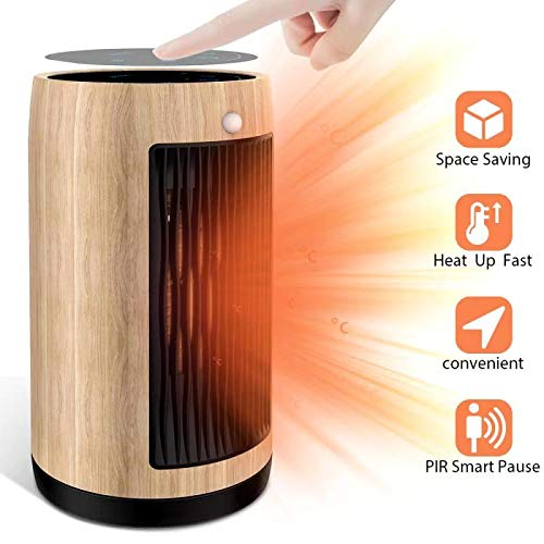 Electric Space Heater 1500W Portable Smart control,Touch panel, PIR Motion Sensor, Function 3 Modes with Overheat & Tip-over Shut off ,wood grain housing (Yellow fir)