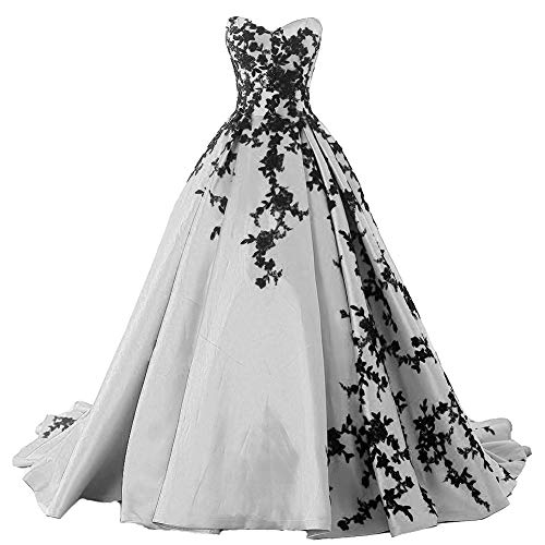 Plus Size Gothic Black Lace Long Ball Gown Prom Evening Dresses Silver US 18W