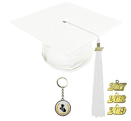 [해외]FIT4GRAD 반짝이 디럭스 졸업 캡 술집 인장 세트 2017 2018 2019, 흰색/FIT4GRAD Shiny Deluxe Graduation Cap Tassel Signet Set 2017 2018 2019, white