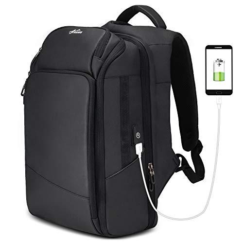 Leather Premium Backpack (Backpack 15.6'' Travel Carry On Weekender Extra Large Work Computer School Backpack Business College Large Capacity USB Charging Port Men Black)