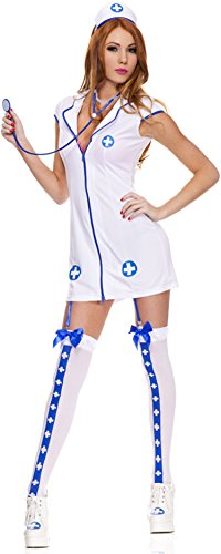 ToBeInStyle Women's 5 Pc Zip Up Front Nurse Outfit Includes - SM (Nurse Outfit Costume)