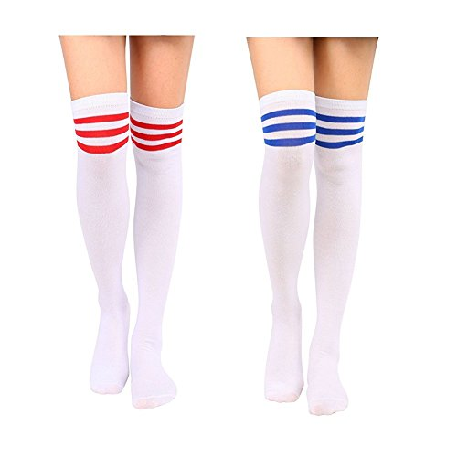 Keylleen Womens Girls Long Knee High Socks Striped Knit Crochet Socks Leggings (Red Straps+Blue Straps) (Ribbed Thigh Highs Athletic)