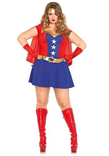 [Leg Avenue Women's Plus-Size 3 Piece Comic Book Girl Costume, Blue/Red, 1X] (Sexy Super Girl Costumes)