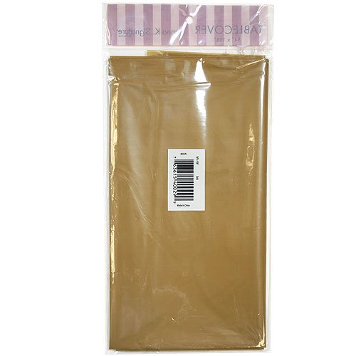 Hanna K. Signature Collection Solid Full Size Plastic Tablecover, 54 by 108-Inch, Gold