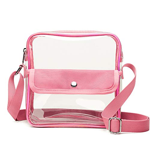 Clear Bag, Veckle Clear Crossbody BTS Concerts NFL Stadium Approved Messenger Bag Clear Purse Adjustable Strap Transparent for Women, Travel Work, Pink