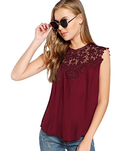 Floerns Women's Lace Neckline Sleeveless Chiffon Blouse Top Burgundy L (Chiffon Blouses And Tops)