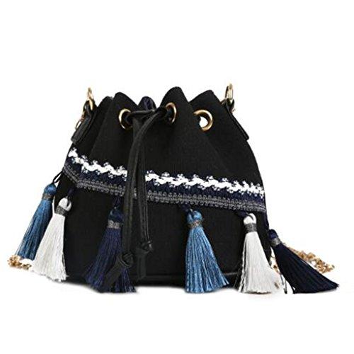 Totalizador Bolso de Hombro Bolsa de Cubo con Borde de Viento Nacional Bolso de Cadena Mini Bolso de Hombro con cordón de Lazo (16.5 * 11 * 14cm) (Color : Black) Black