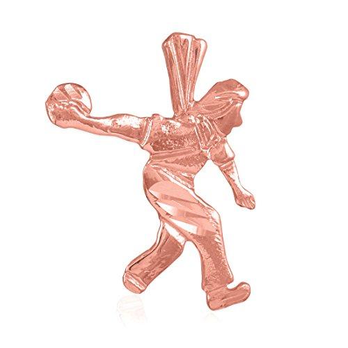 Collier Femme Pendentif 10 Ct Or Rose Bowler Charme Sports (Livré avec une 45cm Chaîne)