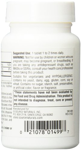 Source Naturals L Theanine Tablets, 200 mg, 60 Count