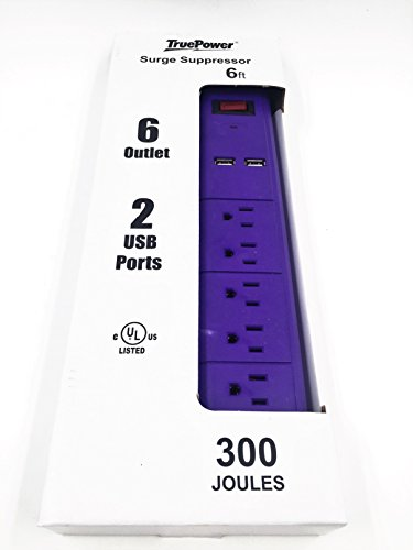 TruePower 6 Outlet Surge Protector w/Dual USB Ports & 6 Cord -Purple