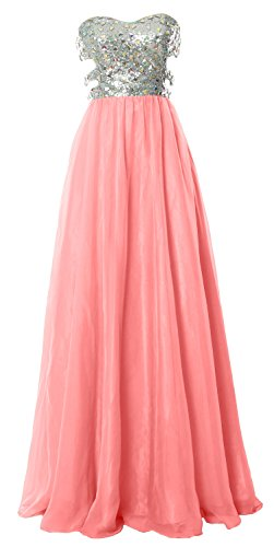 MACloth Fitted Sweetheart Long Cutout Sequin Prom Evening Dress Formal Ball Gown Blush Pink