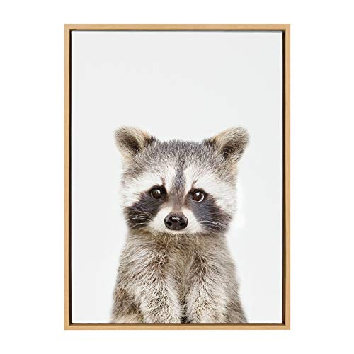 Kate and Laurel Sylvie Baby Raccoon Animal Print Portrait Framed Canvas Wall Art by Amy Peterson, 23x33 Natural