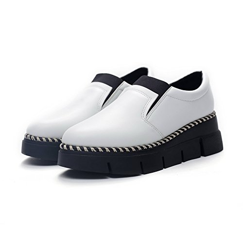 Imitated Band Thick Womens Leather BalaMasa Color Braid Heel Shoes Matching Pumps Elastic Bottom White Czxwqnt