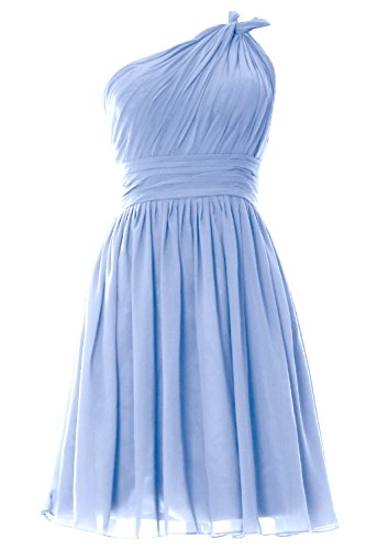 MACloth Women One Shoulder Pleated Short Bridesmaid Dress Wedding Party Gown Cielo azul