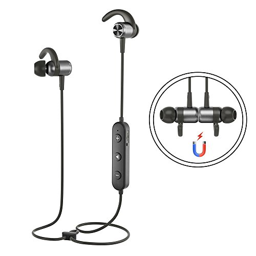 Sports Headphones GUSGU Wireless Earphone Stereo Sports Earbuds in Ear Bluetooth Headphones with Magnetic Design for Running(Noise Cancelling Mic,Snug Silicon Earbuds)